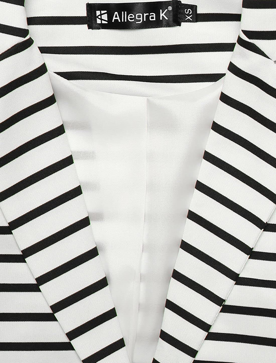 Allegra K Womens Notched Lapel Pocket Button Closure Striped Blazer
