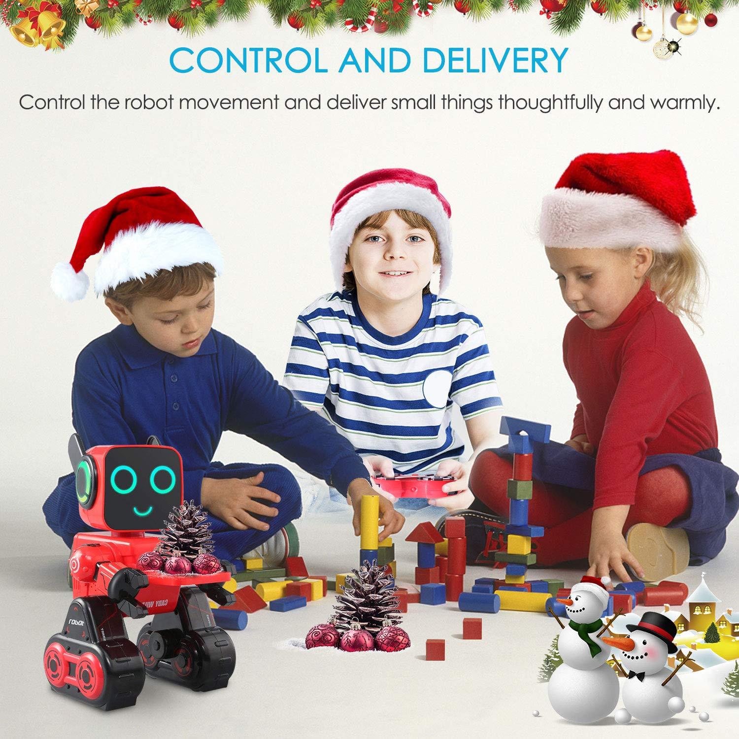 IHBUDS Programmable Remote Control Toy Robot for Kids,Touch & Sound Control, Speaks, Dance Moves, Plays Music. Built-in Coin Bank.Rechargeable RC Robot Kit for Boys, Girls All Ages-Red/Black by IHBUDS (Image #3)