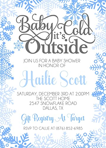 Amazon Com Winter Wonderland Baby Shower Invitations For