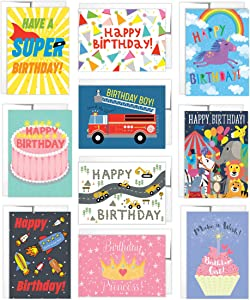 Tiny Expressions - 10 Kids Birthday Cards with Inside Messages and Envelopes