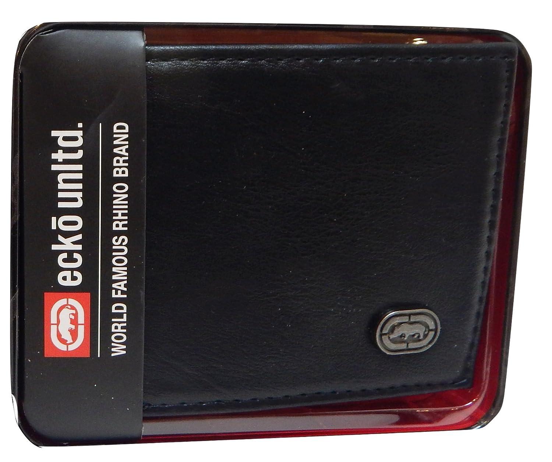Ecko Unltd. World Famous Rhino Men's Genuine Leather Black Wallets - Gift Boxed Keepsake Metal Box, Bi-Fold Wallet