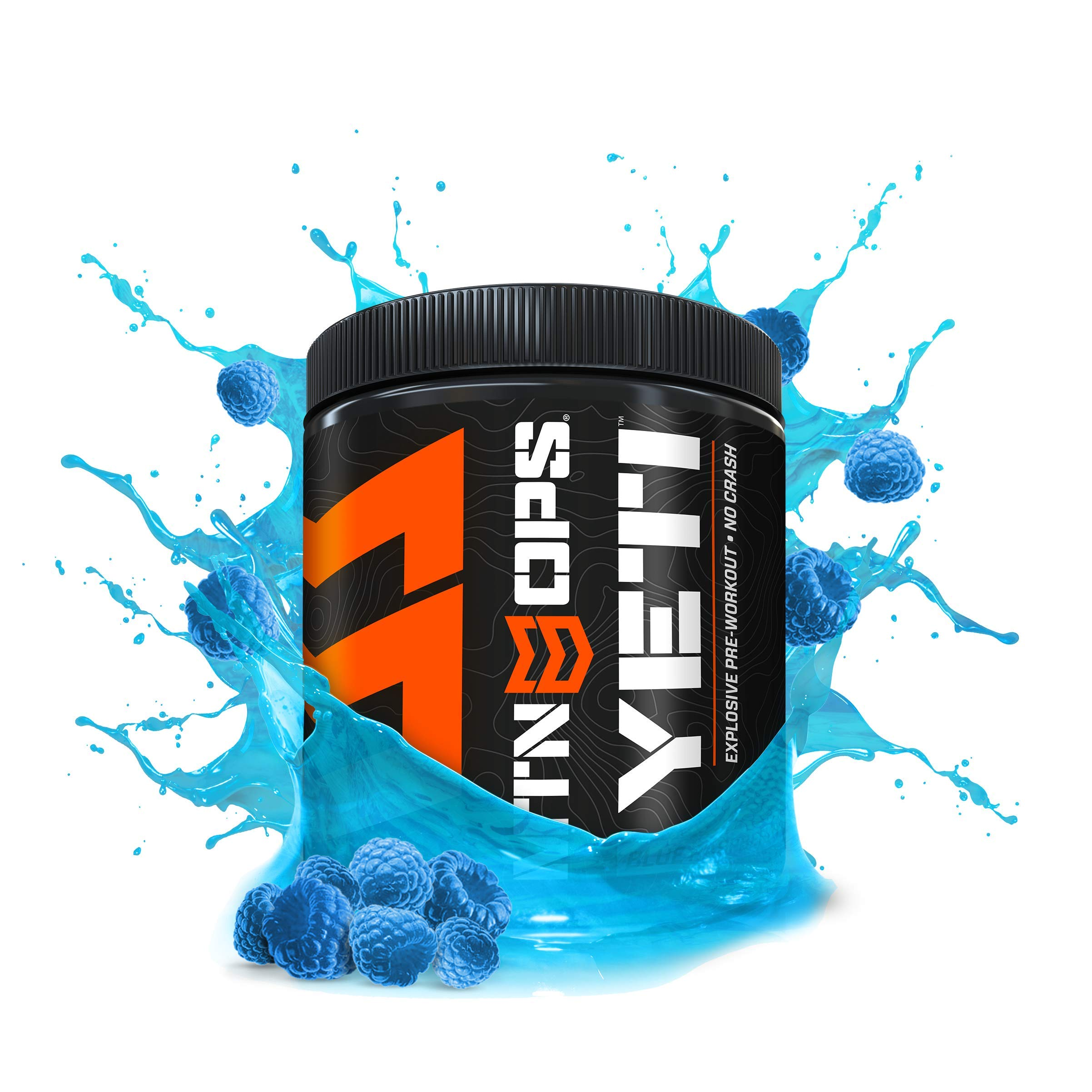 MTN OPS Yeti Monster Pre-Workout Supplement, Nitric Oxide Booster (No Crash)- 30 Servings per Container (Blue Raspberry)