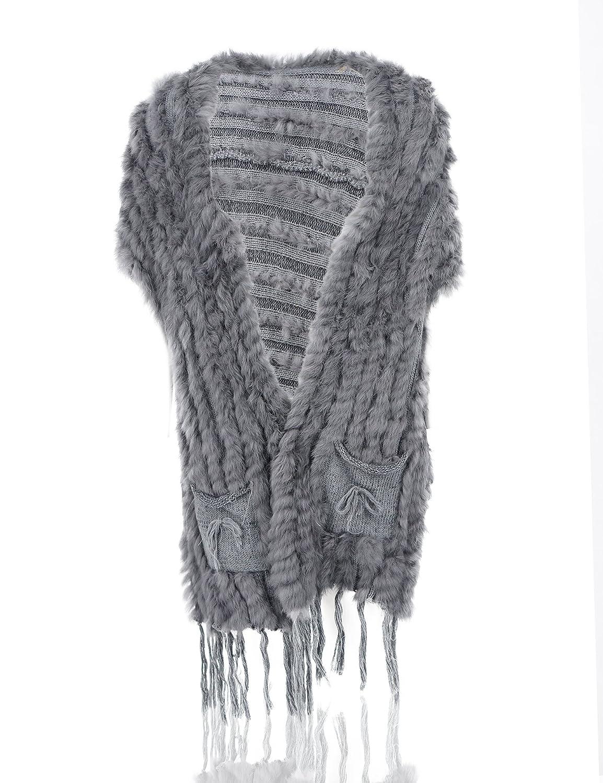 Uilor Women's Knitted Rabbit Fur Vest Cape 25019-Beige