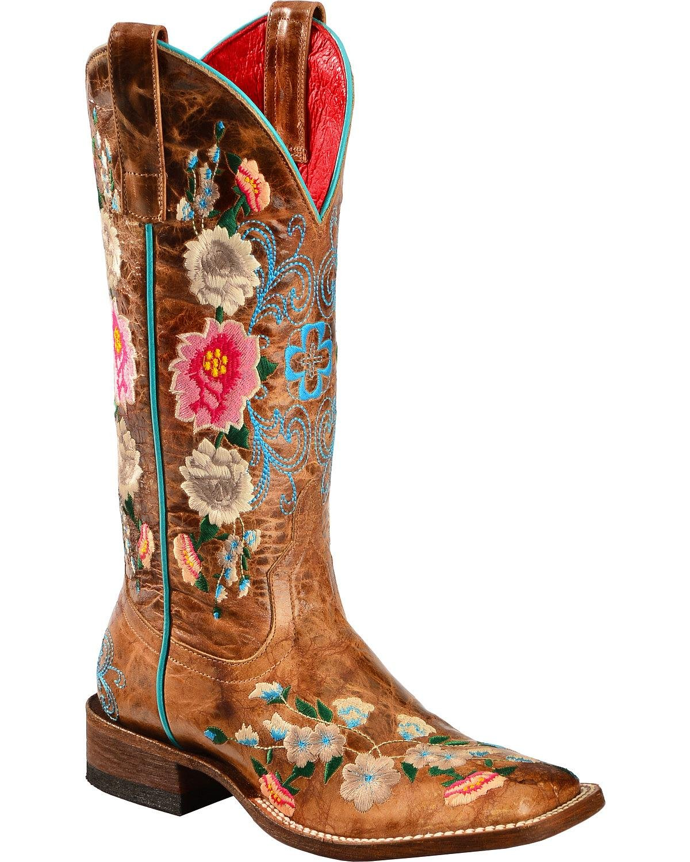 Macie Bean Ladies' Square Toe Honey Floral Boots B013Z5RG0I 6 B(M) US|Honey