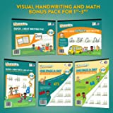 Channie's Visual Handwriting & Math Workbook Bonus Pack of 5 for 1st - 3rd Graders Free Alphabet Card Included.