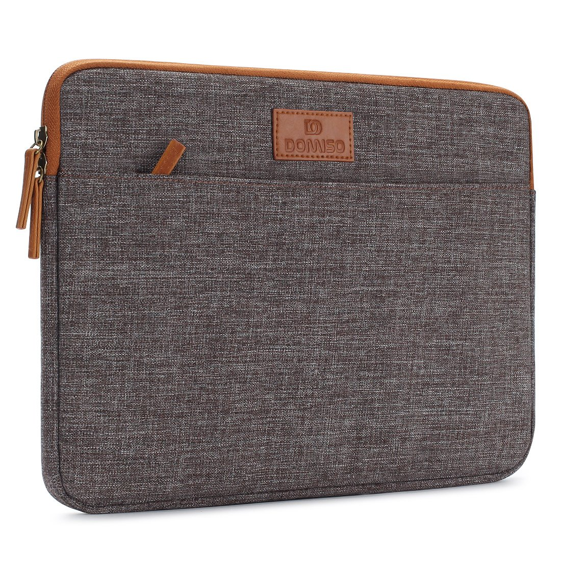 DOMISO 11 Inch Laptop Sleeve Canvas Case Tablet Bag Protect Computer Pouch Skin Cover for 11.6'' MacBook Air / 12.3'' Microsoft Surface Pro 4 , Brown