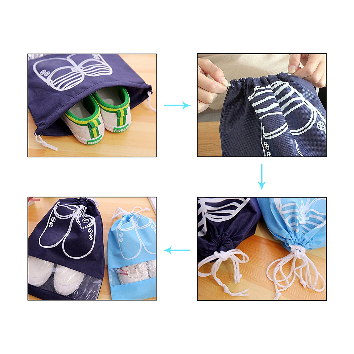 10 Pcs Travel Dust-proof Shoe Bags with Drawstring and Transparent Window Shoe Organizer Space Saving Storage Bags(5pcs XL and 5pcs L) by TGbranch (Image #5)