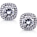 Moissanite and Diamond Halo Earrings 4 1/3 CTW 14K White Gold