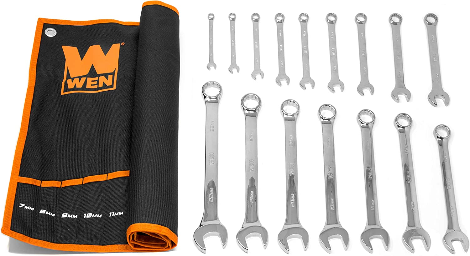 WEN WR160M 16-Piece Professional-Grade Metric Combination Wrench Set with Storage Pouch