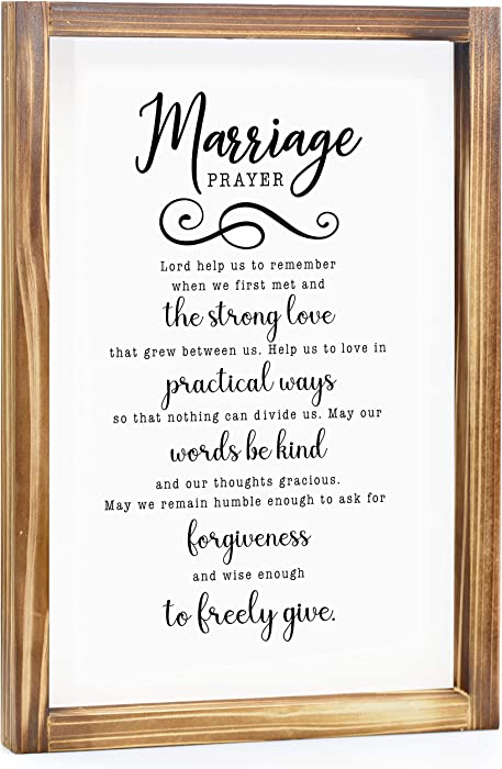 Marriage Prayer Sign - Rustic Farmhouse Decor For The Home Sign - Wall Decorations For Living Room, Modern Farmhouse Wall Decor, Rustic Home Decor, Cute Room Decor With Solid Wood Frame - 11x16 Inch