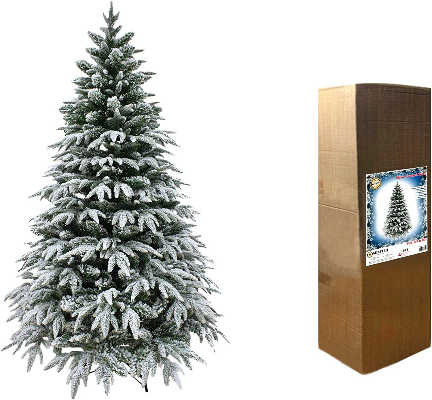 Shatchi Lapland Fir Covered Artificial Christmas Tree Snow Flocked 567 Mixed Tips Hinged Branches Bushy Luxury Xmas Home Snowy Decorations Green 5ft 150cm Amazon Co Uk Kitchen Home