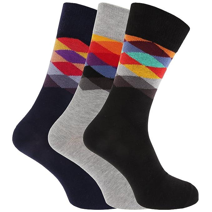 Calcetines diseño de rombos sin goma hombre/caballero - Pack de 3 pares de calcetines