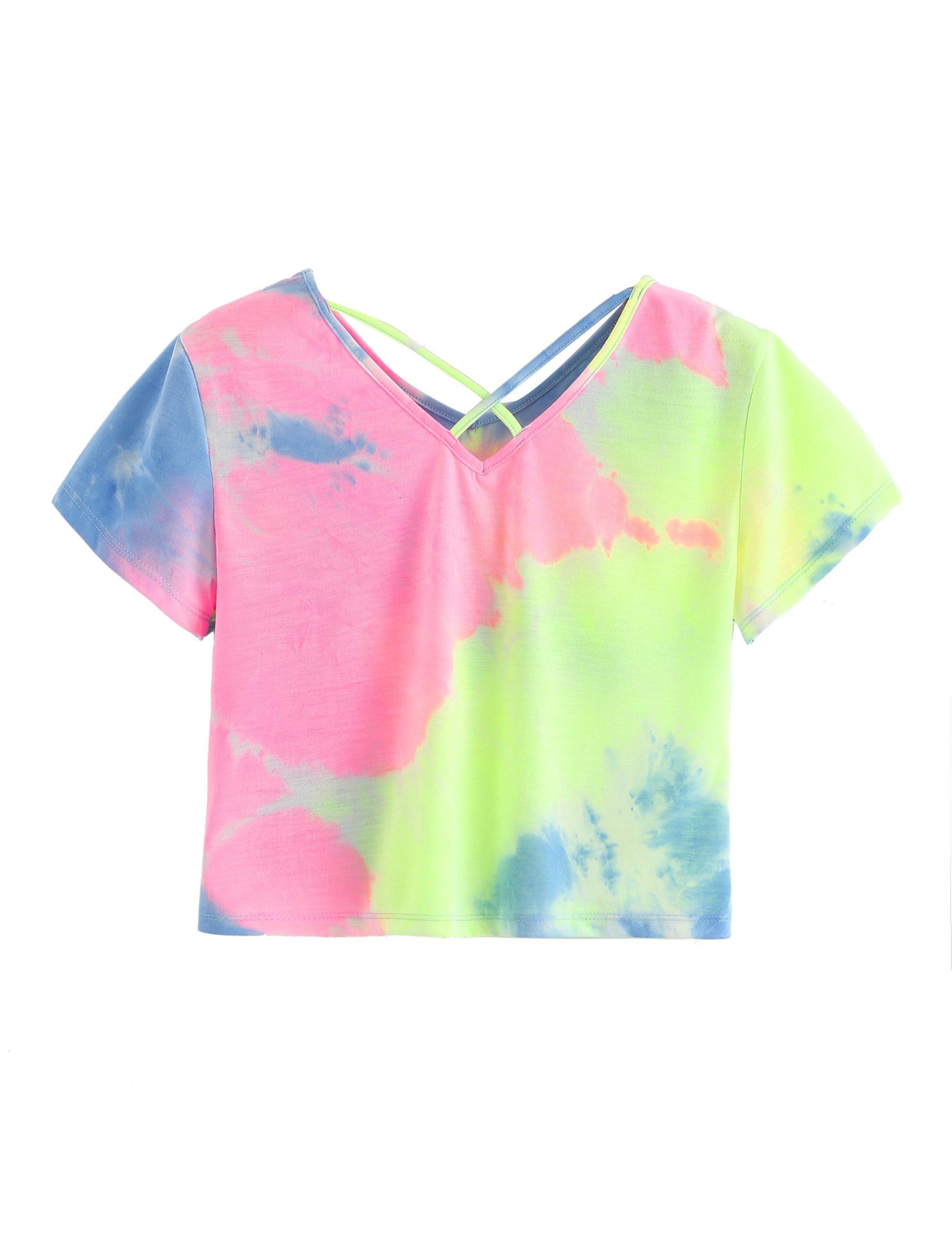 aafff53bbce6b SweatyRocks Women s Tie Dye Criss Cross Back Short Sleeve Crop Summer T  Shirt   Knits   Tees   Clothing