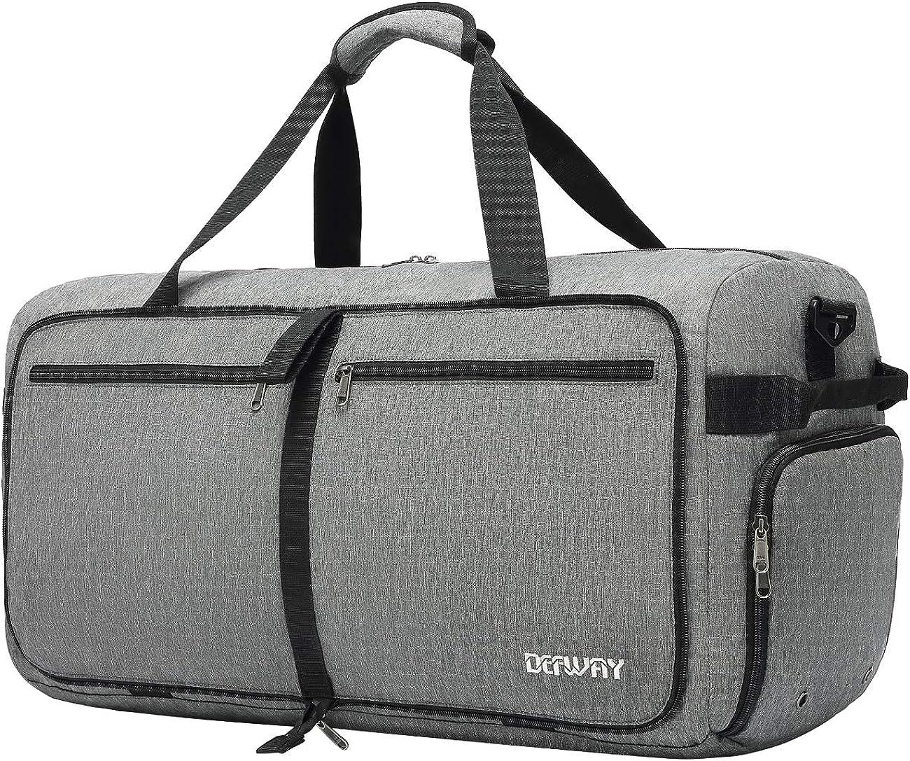 Defway 65L Travel Duffle Bag, Foldable Weekender Bag Lightweight Large Overnight Duffel Water Tear Resistant