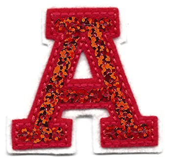 letters red sequin 2 letter a iron on embroidered applique