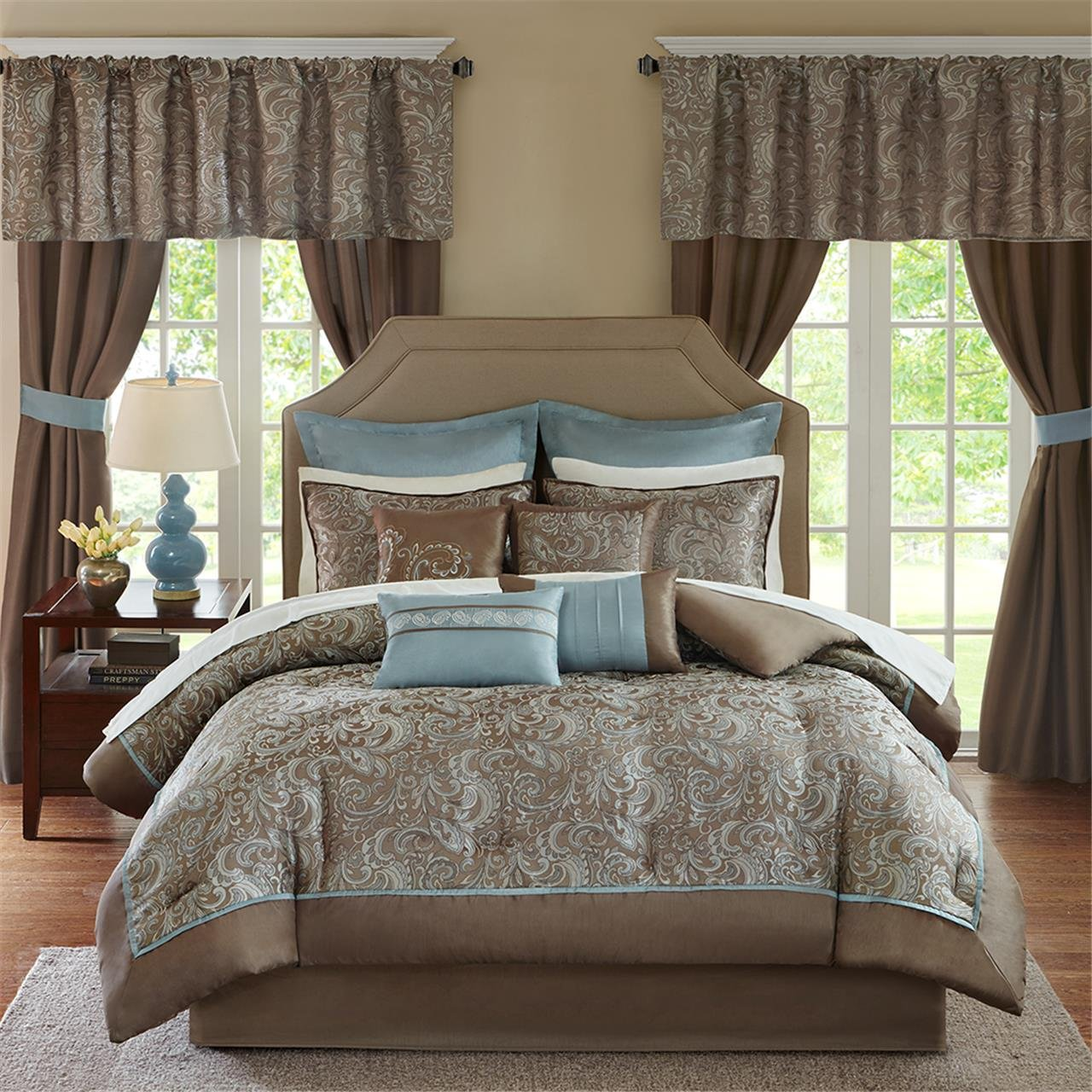Madison Park MPE10-223 Essentials Brystol Room in a Bag Queen Blue