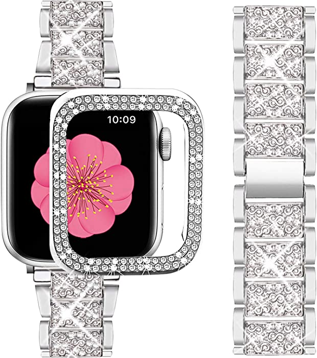 Supoix Compatible with Apple Watch Band 38mm + Case, Women Jewelry Bling Diamond Metal Strap & 2 Pack Bumper Frame Screen Protector for iWatch Series 3/2/1(Silver/38mm)