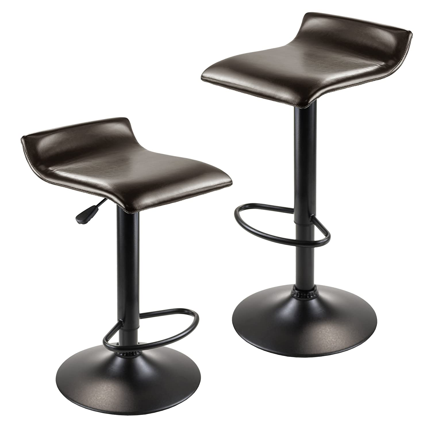 Winsome Wood Paris Adjustable Swivel Airlift Stool with PU Leather Seat, Black Metal Base, Set of 2 93232