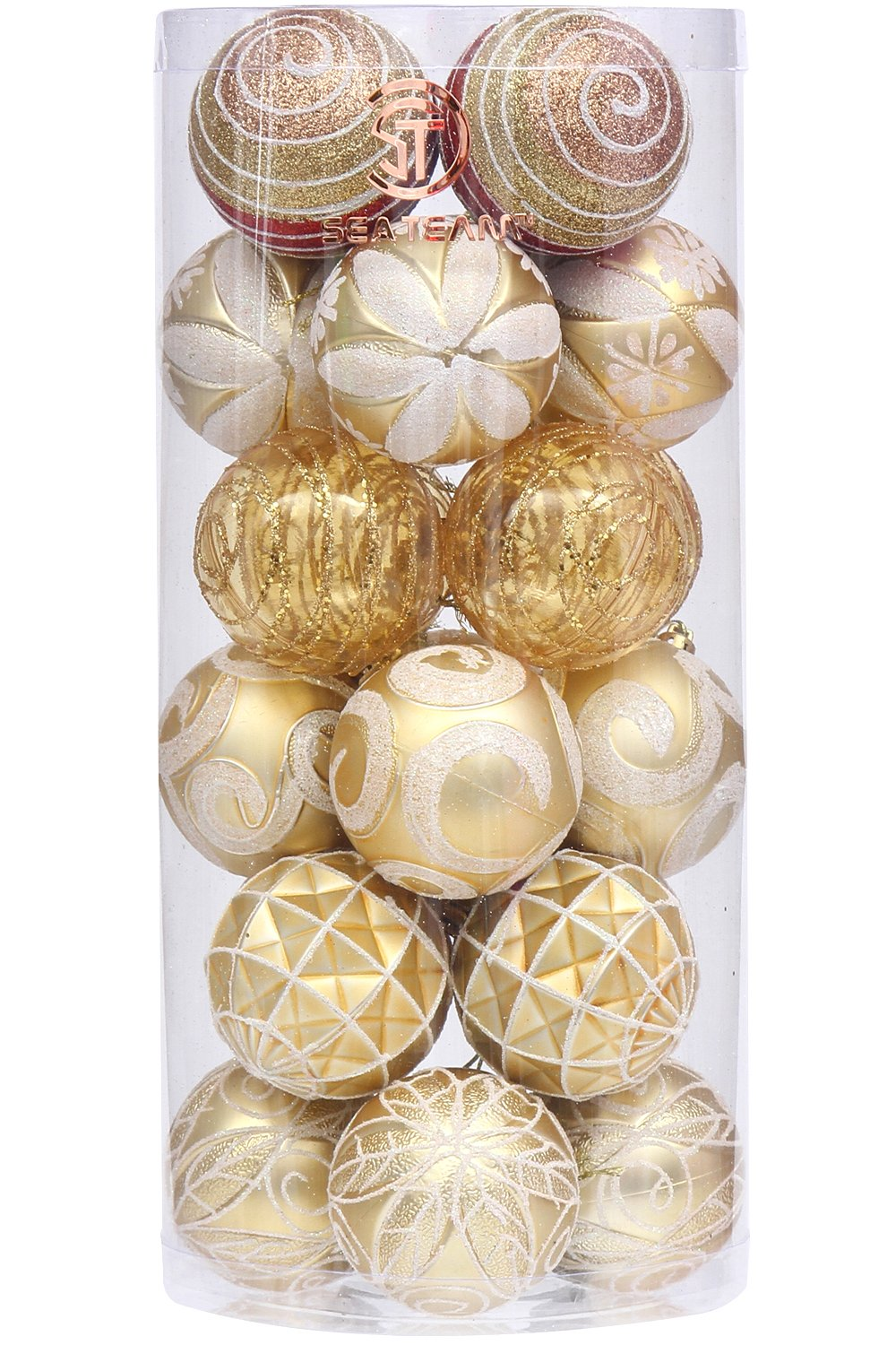Sea Team 60mm/2.36'' Decorative Shatterproof Painting & Glitering Designs Christmas Ornaments Christmas Balls Set with Embossed Finish Surface, 24-Pack, Gold