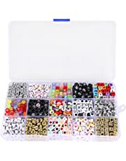 NUOLUX 1100pcs Mixed Acrylic Alphabet Letters Beads Charms Cube Beads for Jewellery Making with Storage Box