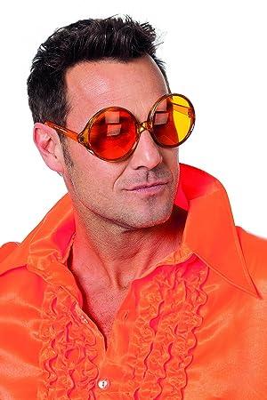 ede0adec14ad Jannes 20006 Hippie-Brille Große Runde Gläser Disco-Brille Orange ...