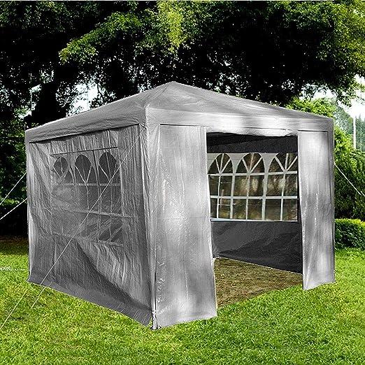 Gr8 Garden 70746-GREY Gr8-Cenador de jardín con Laterales Impermeables para Playa, Fiesta, Festival, Camping, Boda, toldo de 3 x 3 x 2, 45 m, Color Gris: Amazon.es: Jardín