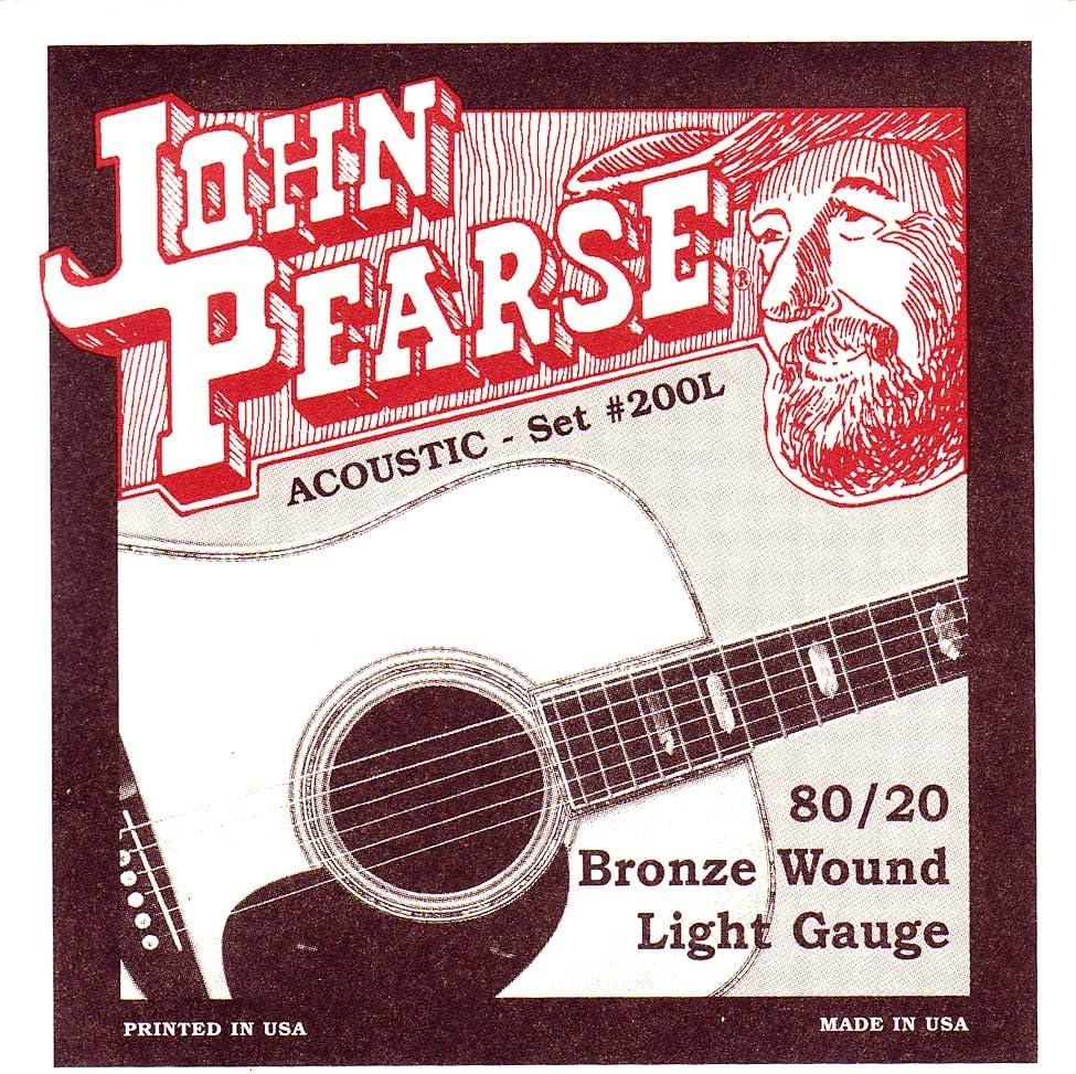 John Pearse 200L - Set de cuerdas para guitarra acústica (calibre 012-053, bronce)