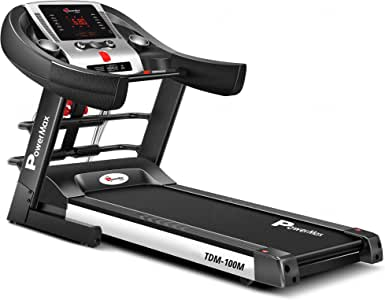 Powermax Fitness TDM-100M 2 HP (4 HP Peak) Motorized Treadmill for Home Use - Free Installation Service - 3 Years Motor Warranty - with Semi-Auto Lubrication, Multi-function (massager and sit-up bar)