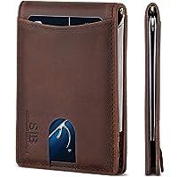 SERMAN BRANDS RFID Blocking Slim Bifold Genuine Leather Minimalist Front Pocket Wallets for Men with Money Clip (Texas…