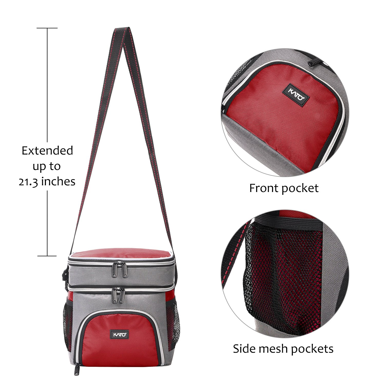 Insulated Lunch Bag for Women, Leakproof Dual Compartment Thermal Cooler Reusable Lunch Box Tote for Girls by Kato, Red