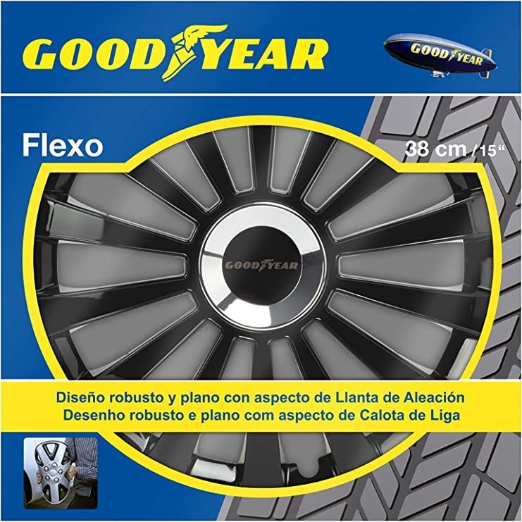 Goodyear GOD9033 1 Juego de 4 tapacubos Color Negro tecnología Flexo y Anillo de sujeción Ajustable, 15 pulgadas, Set de 4