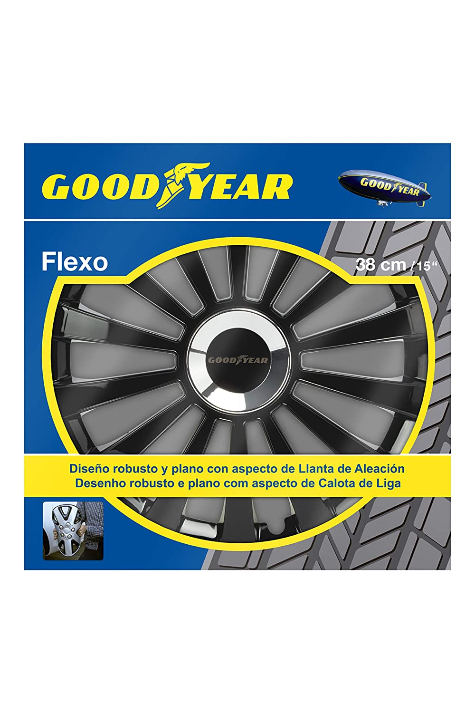Good Year GOD9033 - Set de 4 Tapacubos Flexo 40, Negro, 15 Pulgadas