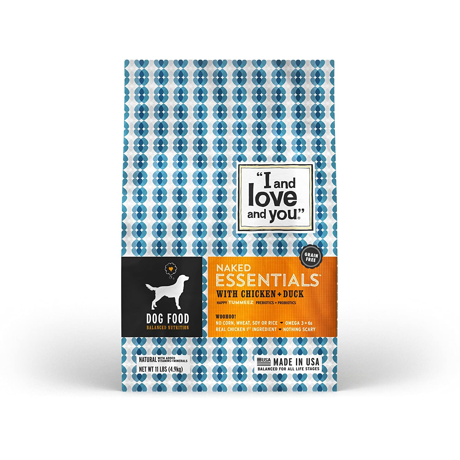 """I and love and you"" Naked Essentials Chicken & Duck Grain Free Dry Dog Food, 11 LB"