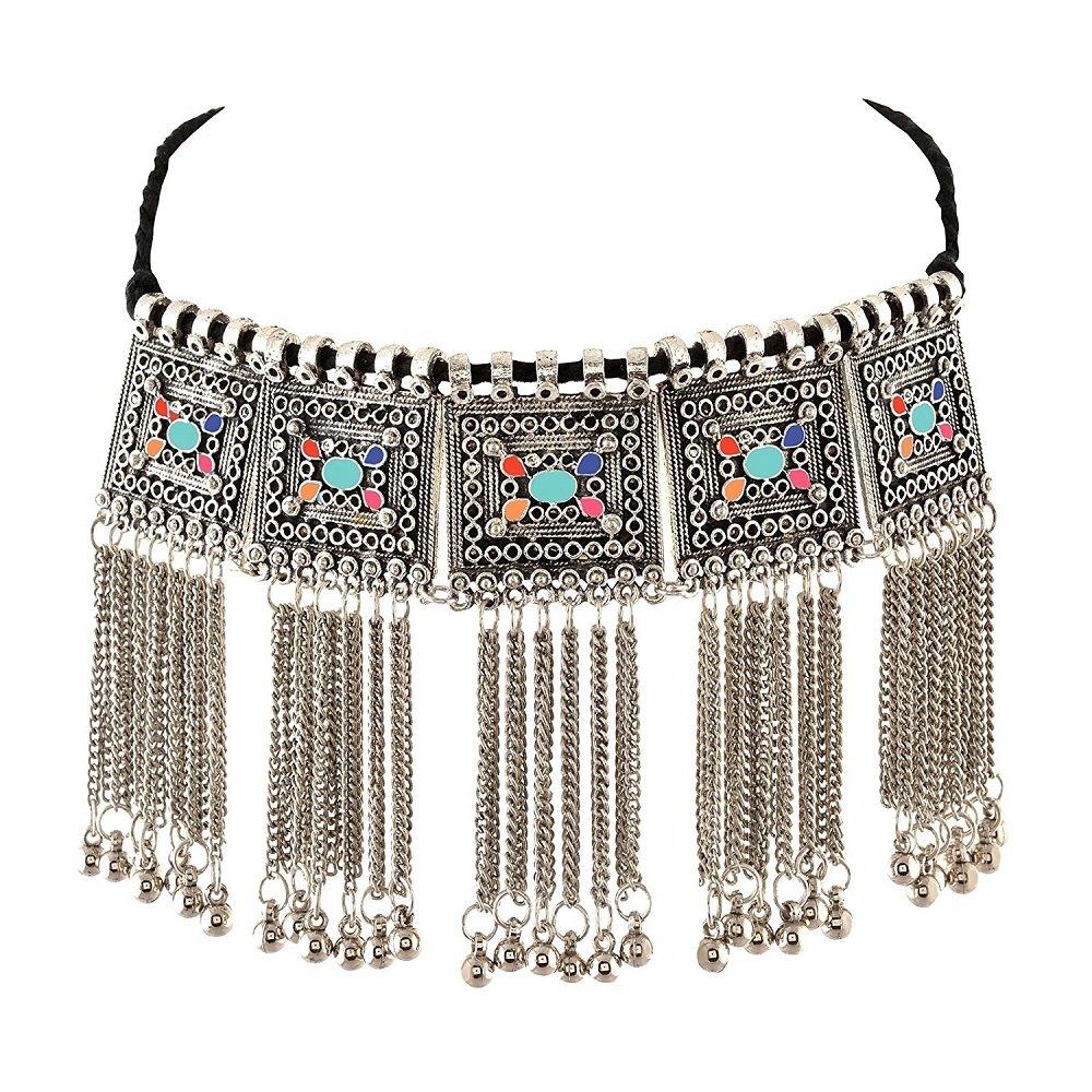 Designer fashionablegerman silver oxidised Chik necklace