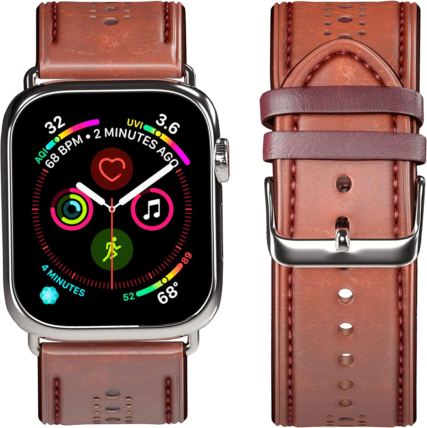 OGGO for Apple Watch Band 42mm 44mm - Premium Genuine Leather Classic Buckle Vintage Retro Strap Bands Wristband Replacement for Apple Watches iWatch Series 5 4 3 2 1 Sport Edition – Brown
