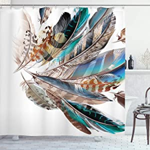 "Ambesonne Feathers Shower Curtain, Vaned Types and Natal Contour Flight Bird Feathers and Animal Skin Element Print, Cloth Fabric Bathroom Decor Set with Hooks, 70"" Long, Teal Brown"