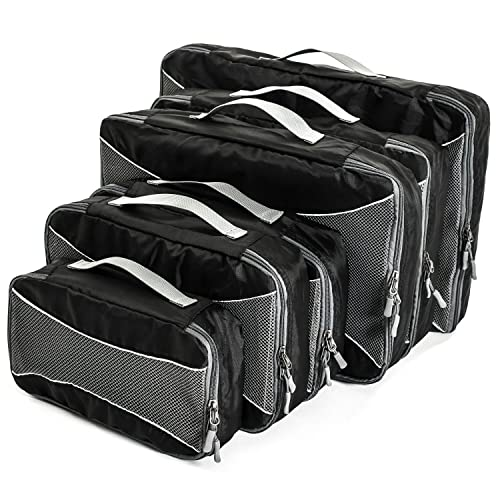 Home Treats Set of 6 Packing Cube Travel Bags Black.For Suitcases, Travel And Carry-on Luggage