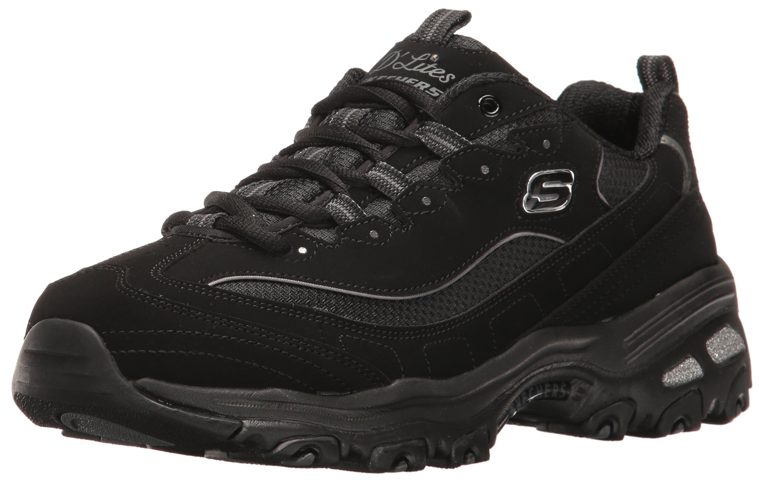 Skechers Sport Women's D'Lites Memory Foam Lace-up Sneaker,Black,8.5 W US