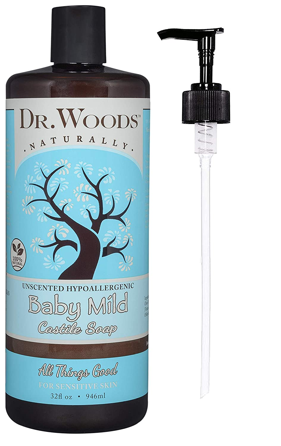 Dr. Woods Unscented Baby Mild Castile Soap & Body Wash with Pump, 32 Ounce