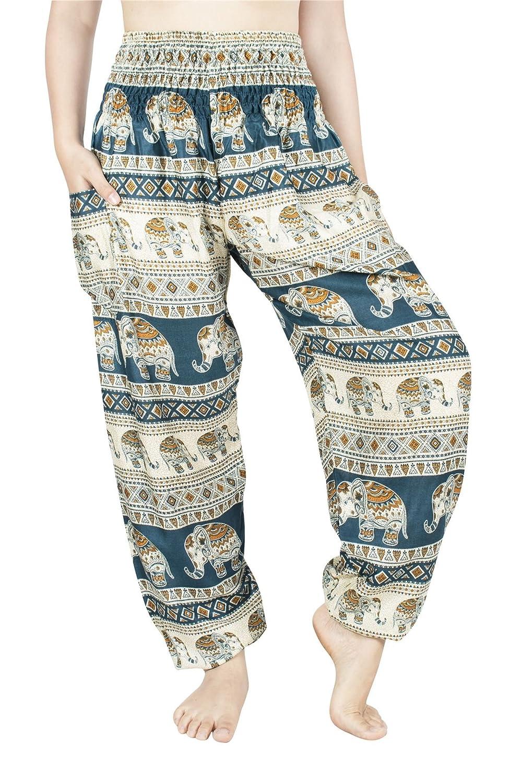Lofbaz Women's Rayon Smocked Waist Flowy Hippie Boho Harem Pants Lofbaz Manufacturing