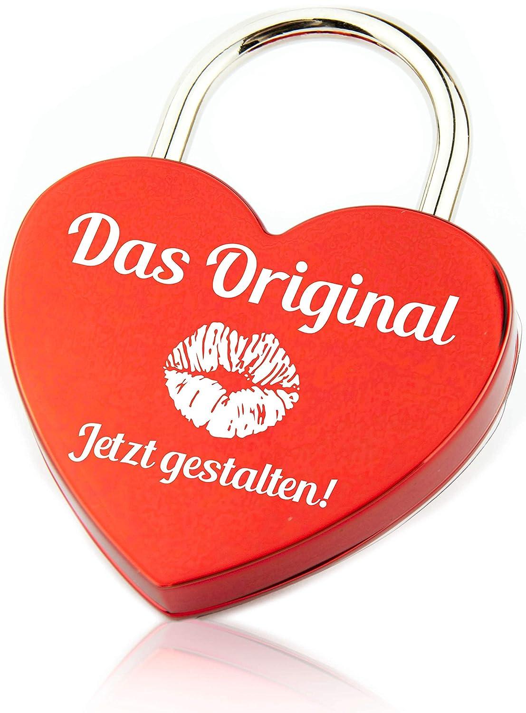 perfektes Geschenk zur Hochzeit//Herzschloss gold Geschenkfreude Liebesschloss Gravur//Liebesschloss mit Gravur und Schl/üssel//personalisiertes Schloss