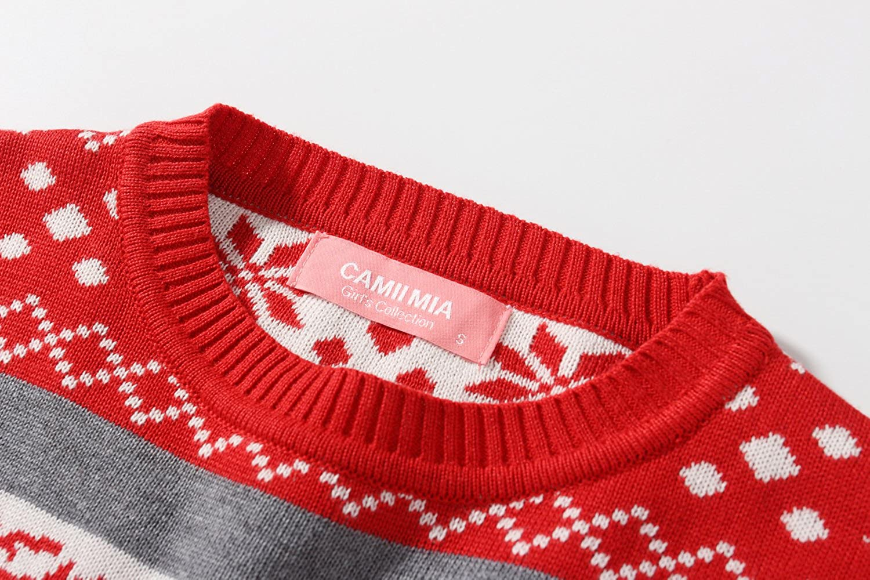 Camii Mia Big Girls Reindeer Pullover Crewneck Ugly Christmas Sweater
