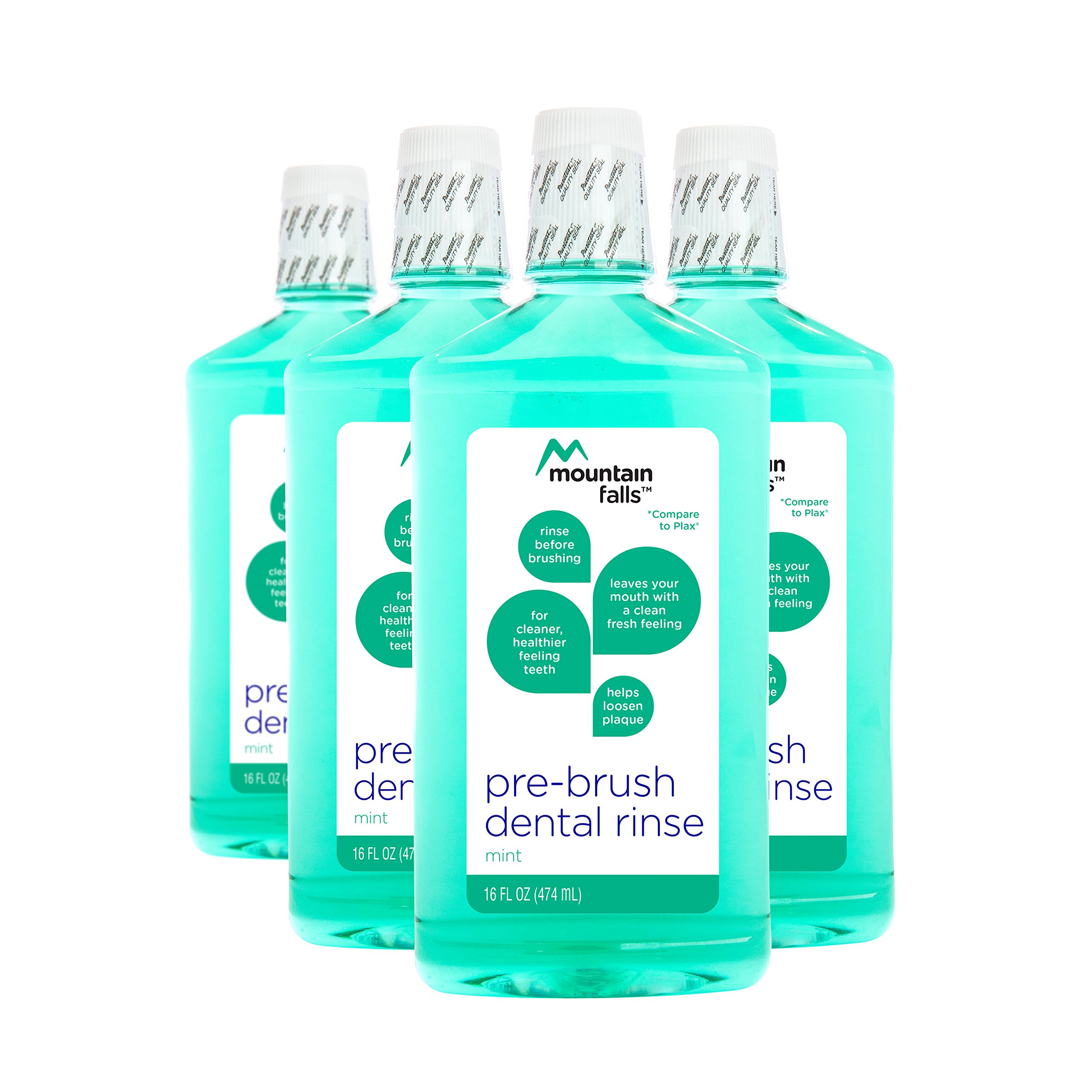 Mountain Falls Pre-Brush Dental Rinse, Mint, Compare to Plax, 16 Fluid Ounce (Pack of 4)
