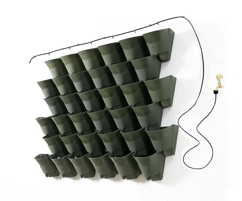 Worth Garden Olive Green Self-Watering 1 Set - 3 Pockets Vertical Wall Garden Planters