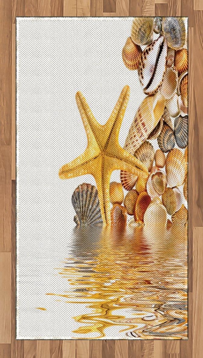 Ambesonne Seashells Area Rug, Shells and Starfish Reflection Water Golden Yellow Spa Clear Beach Theme, Flat Woven Accent Rug for Living Room Bedroom Dining Room, 4 x 6 FT, Earth Yellow Cream