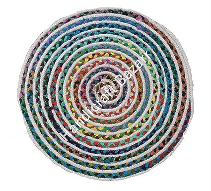 Amazon.com: Alfombra de algodón trenzado de 24.0 in (2 pies ...