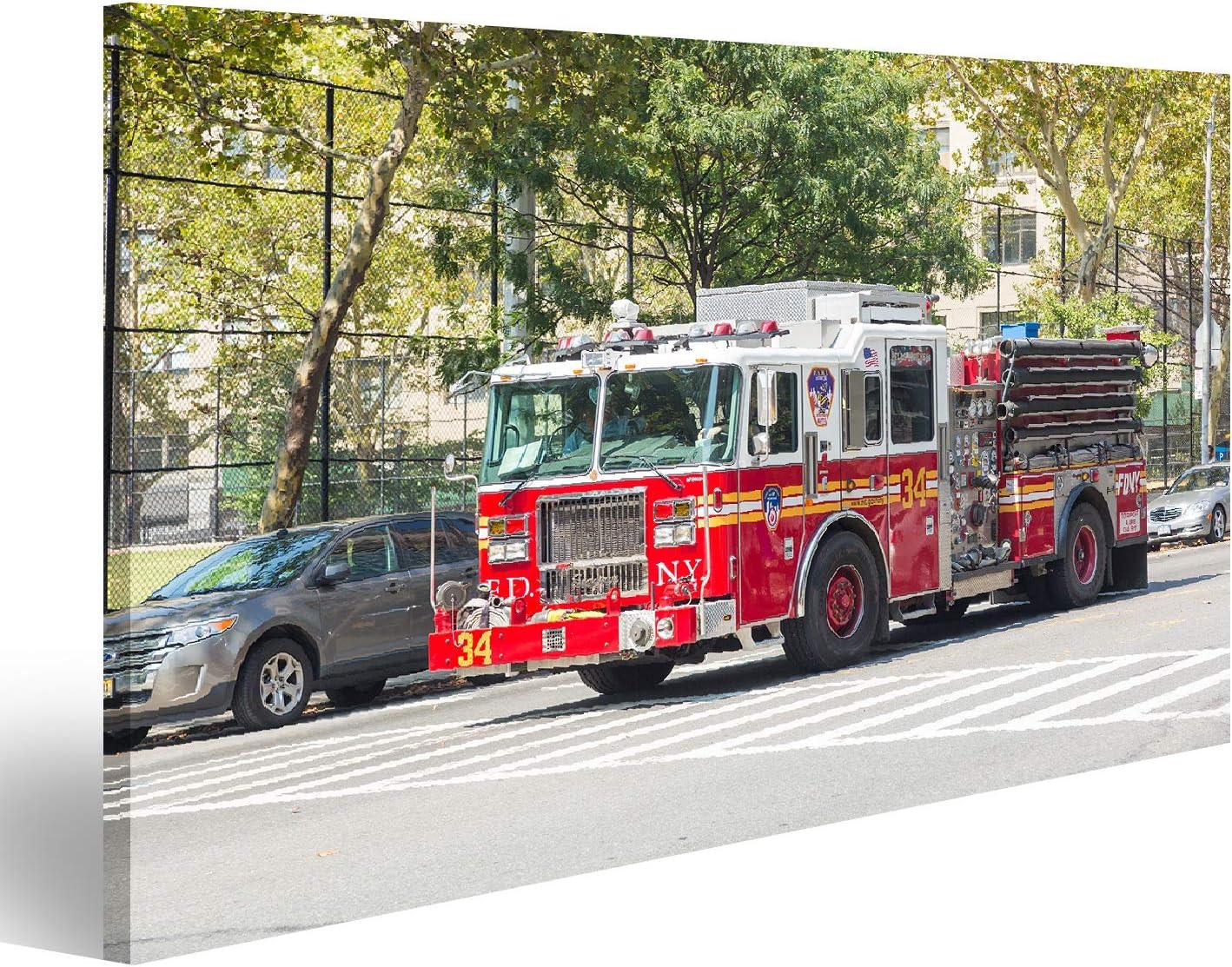 20 AO/ÛT 2014 : Camion de pompiers FDNY sur la 9/ème avenue de Manhattan Tableau Tableaux sur toile NEW YORK Impres FDNY fournit des services dincendie et de secours durgence /ÉTATS-UNIS
