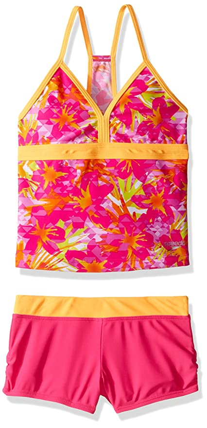 ff388c10fe Speedo Girls Jungle Floral Two Piece Boyshort Tankini Swim Set, Pink, Size 7