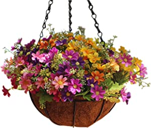 Mynse Daisy Flower Artificial Hanging Plant Home Balcony Indoor Outdoor Decor Fake Flower Hanging Basket with Chain Flowerpot (Big Basket with Artificial Daisy Flowers)