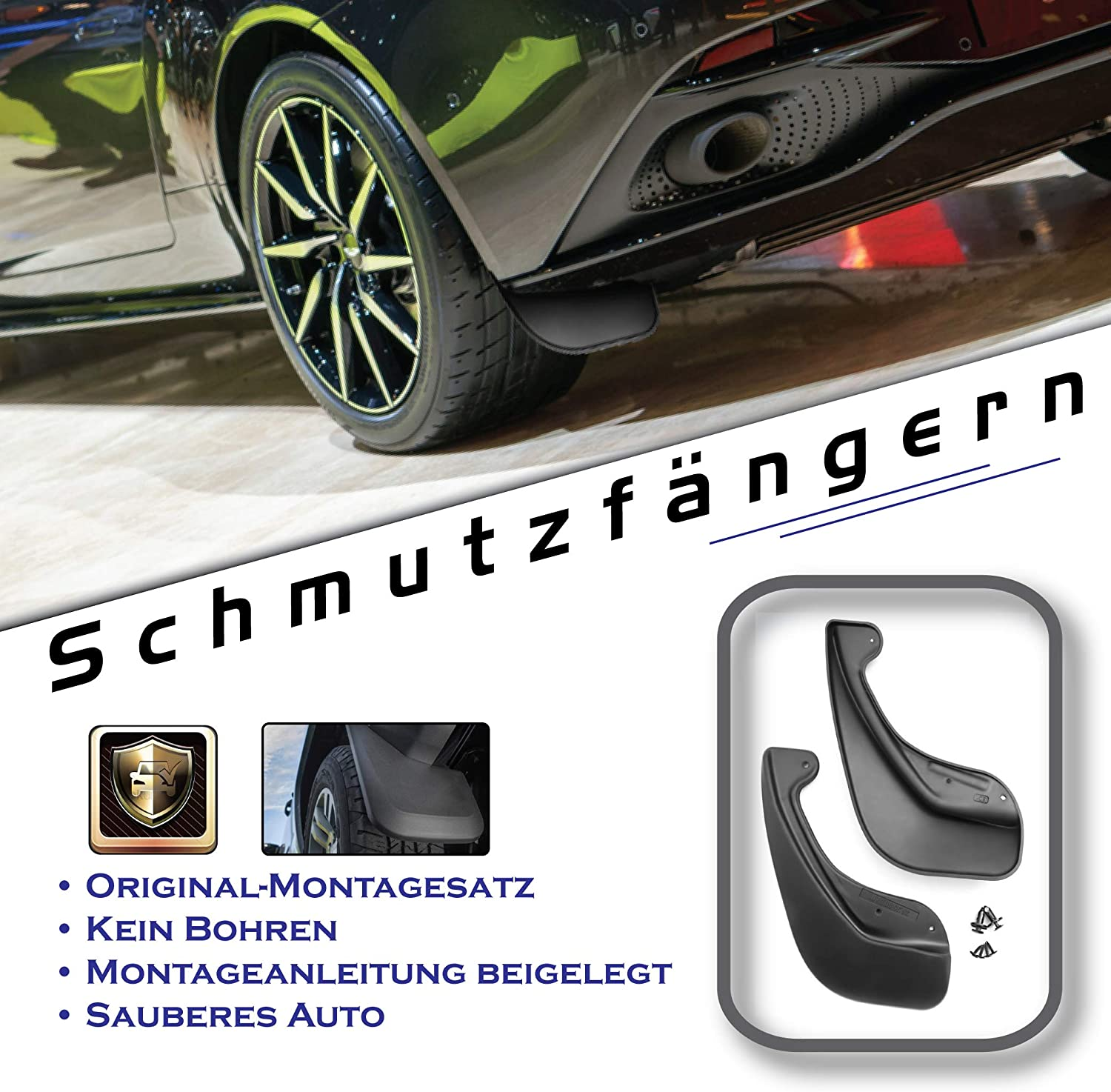 Black 2 Pieces with Attachment FROSCH EXP.NLF.15.12.E11 Perfect fit Rubber mudflaps Splash Guard Rear Mudguard for Fiat 500 Year: 07-11